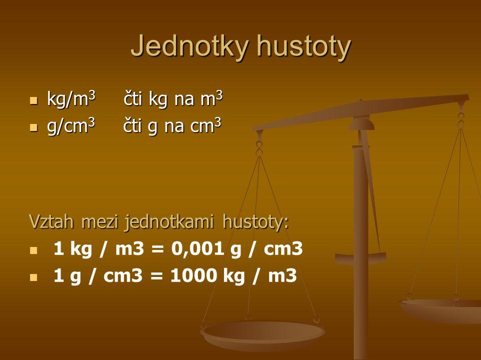 Jednotky hustoty kg/m 3 čti kg na m 3 kg/m 3 čti kg na m 3 g/cm 3 čti g na cm 3 g/cm 3 čti g na cm 3 Vztah mezi jednotkami hustoty: 1 kg / m3 = 0,001 g / cm3 1 g / cm3 = 1000 kg / m3