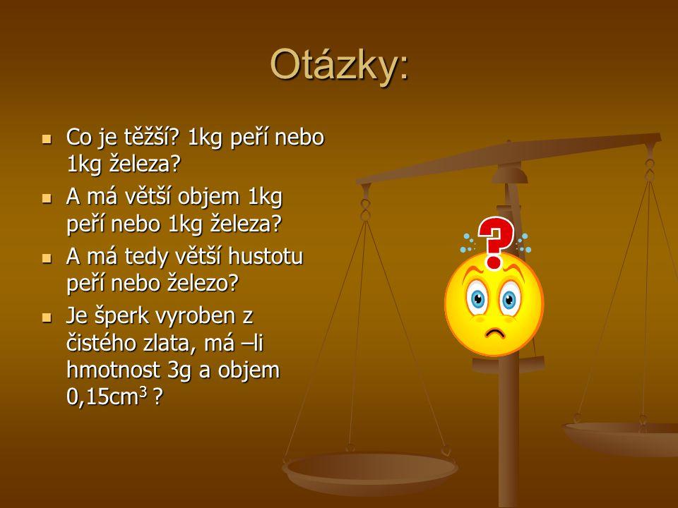 Otázky: Co je těžší.1kg peří nebo 1kg železa. Co je těžší.
