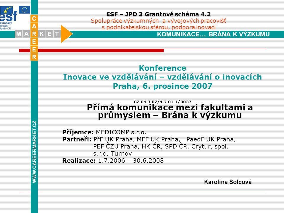 WWW.CAREERMARKET.CZ KOMUNIKACE… BRÁNA K VÝZKUMU ESF – JPD 3 Grantové schéma 4.2 ESF – JPD 3 Grantové schéma 4.2 Spolupráce výzkumných a vývojových pracovišť s podnikatelskou sférou, podpora inovací Konference Inovace ve vzdělávání – vzdělávání o inovacích Praha, 6.