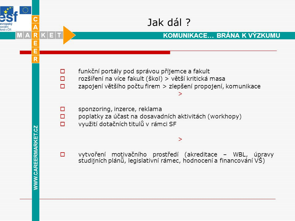 Kudy k nám www.careermarket.cz www.alumnialbertov.cz Medicomp s.r.o., Turnov info@careermarket.cz Děkuji za pozornost Karolina Šolcová WWW.CAREERMARKET.CZ KOMUNIKACE… BRÁNA K VÝZKUMU