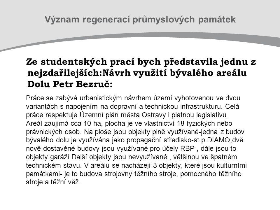 Ze studentských prací bych představila jednu z nejzdařilejších:Návrh využití bývalého areálu Dolu Petr Bezruč: Práce se zabývá urbanistickým návrhem území vyhotovenou ve dvou variantách s napojením na dopravní a technickou infrastrukturu.