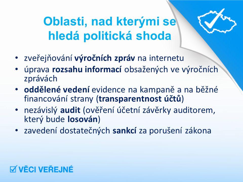 Oblasti, nad kterými se hledá politická shoda zveřejňování výročních zpráv na internetu úprava rozsahu informací obsažených ve výročních zprávách oddělené vedení evidence na kampaně a na běžné financování strany (transparentnost účtů) nezávislý audit (ověření účetní závěrky auditorem, který bude losován) zavedení dostatečných sankcí za porušení zákona