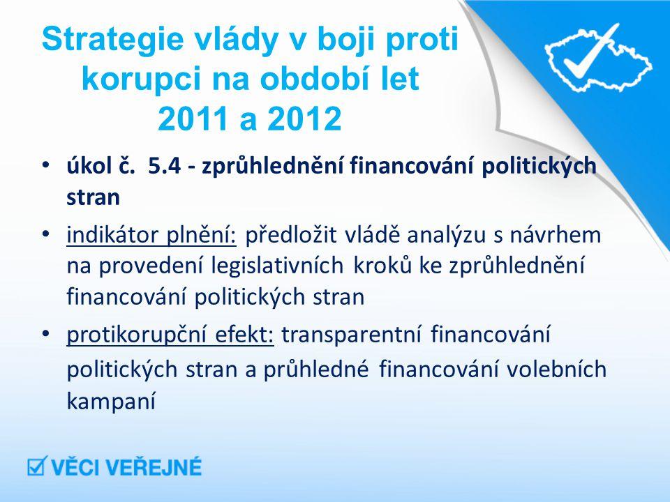 Strategie vlády v boji proti korupci na období let 2011 a 2012 úkol č.