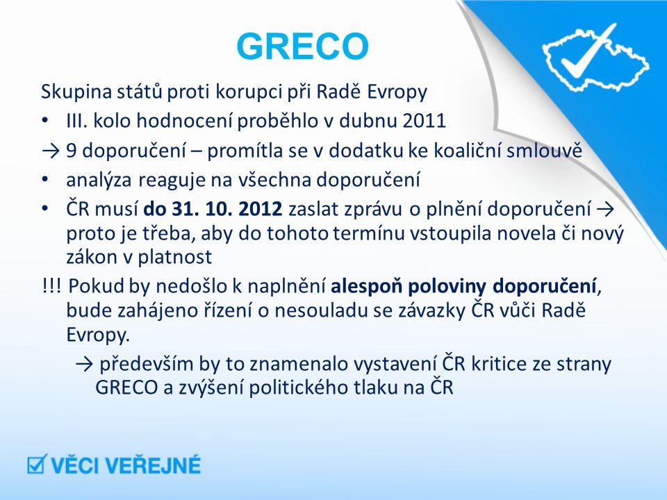 GRECO Skupina států proti korupci při Radě Evropy III.