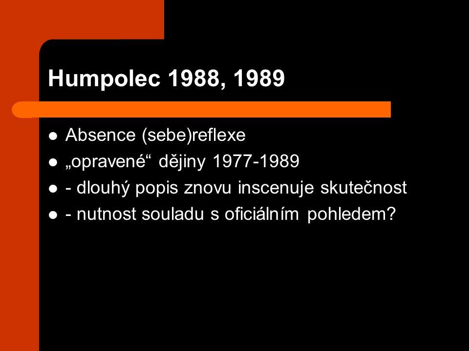 """Humpolec 1988, 1989 Absence (sebe)reflexe """"opravené dějiny 1977-1989 - dlouhý popis znovu inscenuje skutečnost - nutnost souladu s oficiálním pohledem?"""