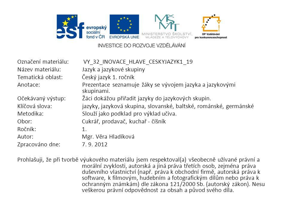 Označení materiálu: VY_32_INOVACE_HLAVE_CESKYJAZYK1_19 Název materiálu:Jazyk a jazykové skupiny Tematická oblast:Český jazyk 1. ročník Anotace:Prezent
