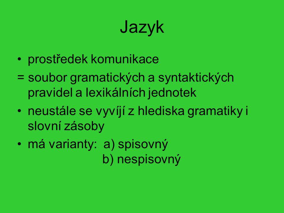 Jazyk prostředek komunikace = soubor gramatických a syntaktických pravidel a lexikálních jednotek neustále se vyvíjí z hlediska gramatiky i slovní zás