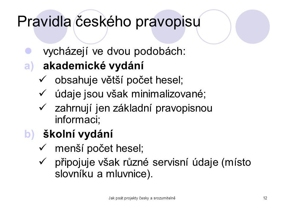 Jak psát projekty česky a srozumitelně12 Pravidla českého pravopisu vycházejí ve dvou podobách: a)akademické vydání obsahuje větší počet hesel; údaje