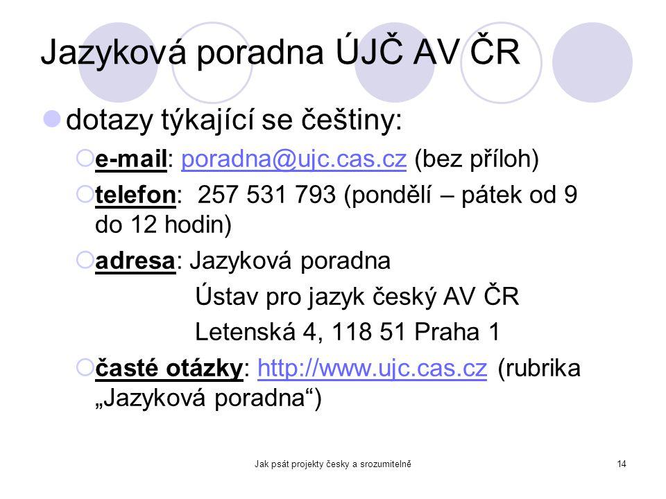 Jak psát projekty česky a srozumitelně14 Jazyková poradna ÚJČ AV ČR dotazy týkající se češtiny:  e-mail: poradna@ujc.cas.cz (bez příloh)poradna@ujc.c