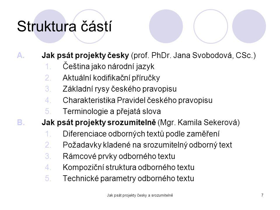 Jak psát projekty česky a srozumitelně7 Struktura částí A.Jak psát projekty česky (prof. PhDr. Jana Svobodová, CSc.) 1.Čeština jako národní jazyk 2.Ak