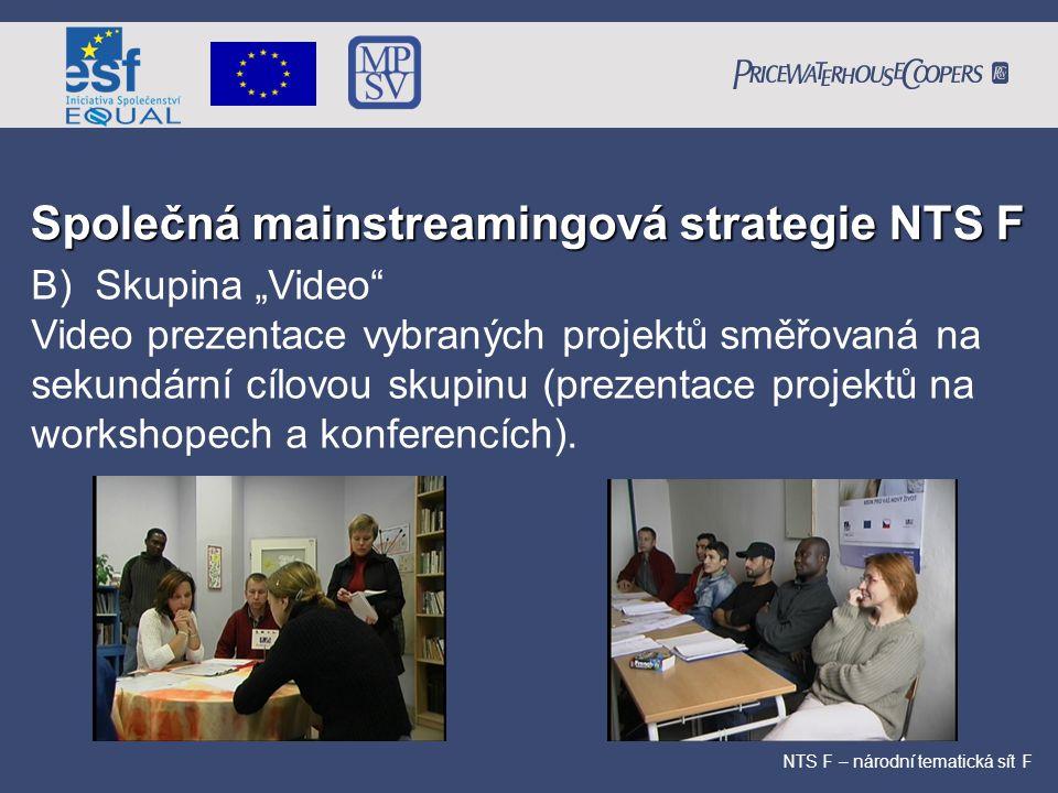 """Společná mainstreamingová strategie NTS F NTS F – národní tematická sít F B) Skupina """"Video"""" Video prezentace vybraných projektů směřovaná na sekundár"""