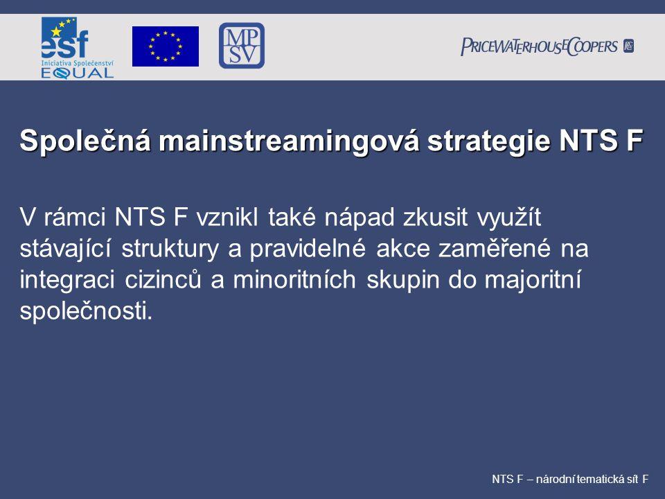 Společná mainstreamingová strategie NTS F NTS F – národní tematická sít F V rámci NTS F vznikl také nápad zkusit využít stávající struktury a pravidel
