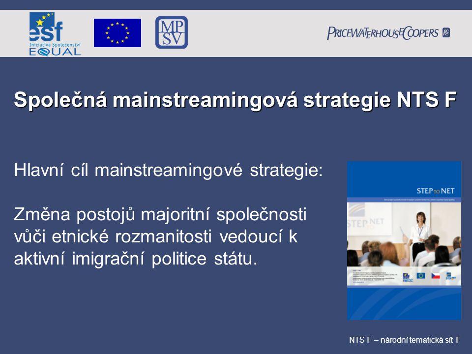Společná mainstreamingová strategie NTS F NTS F – národní tematická sít F Hlavní cíl mainstreamingové strategie: Změna postojů majoritní společnosti v