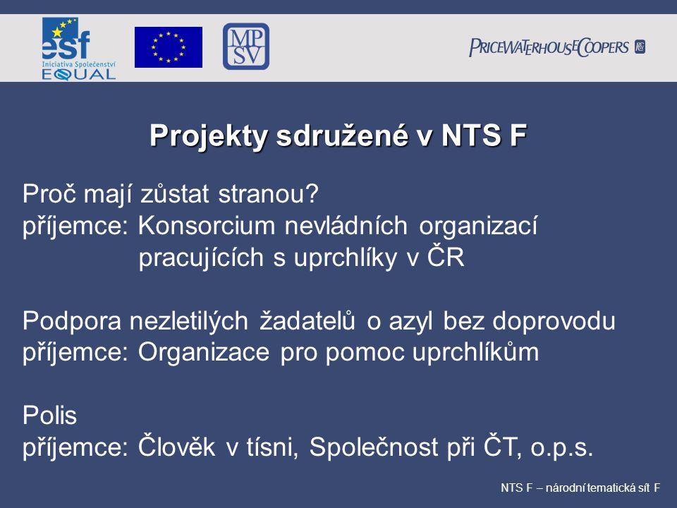 Projekty sdružené v NTS F NTS F – národní tematická sít F Proč mají zůstat stranou? příjemce: Konsorcium nevládních organizací pracujících s uprchlíky