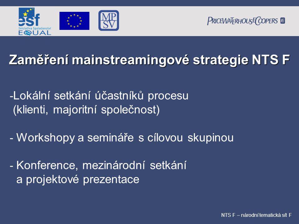 Zaměření mainstreamingové strategie NTS F NTS F – národní tematická sít F - Lokální setkání účastníků procesu (klienti, majoritní společnost) - Worksh