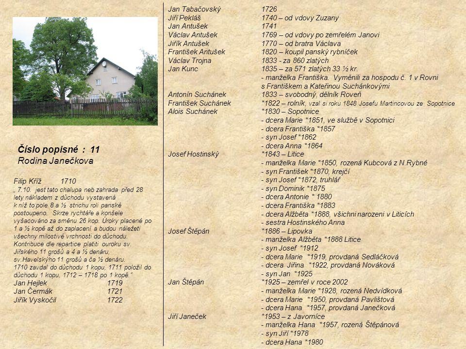 Jan Tabačovský 1726 Jiří Pekláš 1740 – od vdovy Zuzany Jan Antušek 1741 Václav Antušek 1769 – od vdovy po zemřelém Janovi Jiřík Antušek 1770 – od brat