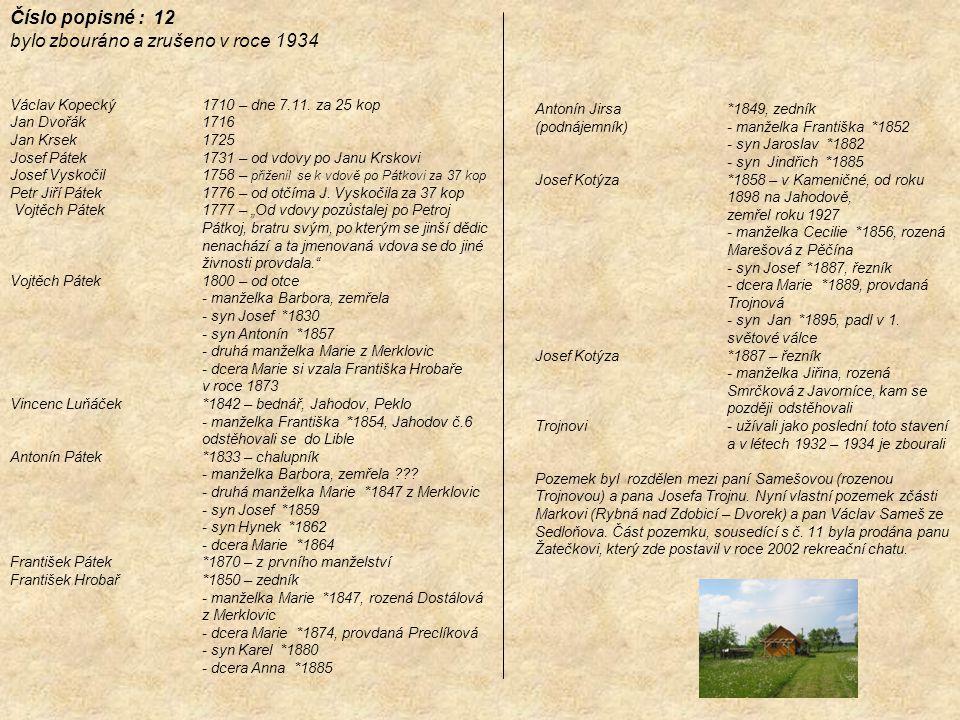 Číslo popisné : 12 bylo zbouráno a zrušeno v roce 1934 Václav Kopecký 1710 – dne 7.11. za 25 kop Jan Dvořák 1716 Jan Krsek 1725 Josef Pátek 1731 – od