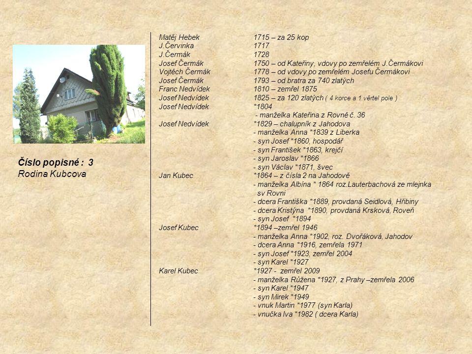 Matěj Hebek 1715 – za 25 kop J.Červinka1717 J.Čermák1728 Josef Čermák1750 – od Kateřiny, vdovy po zemřelém J.Čermákovi Vojtěch Čermák1778 – od vdovy p