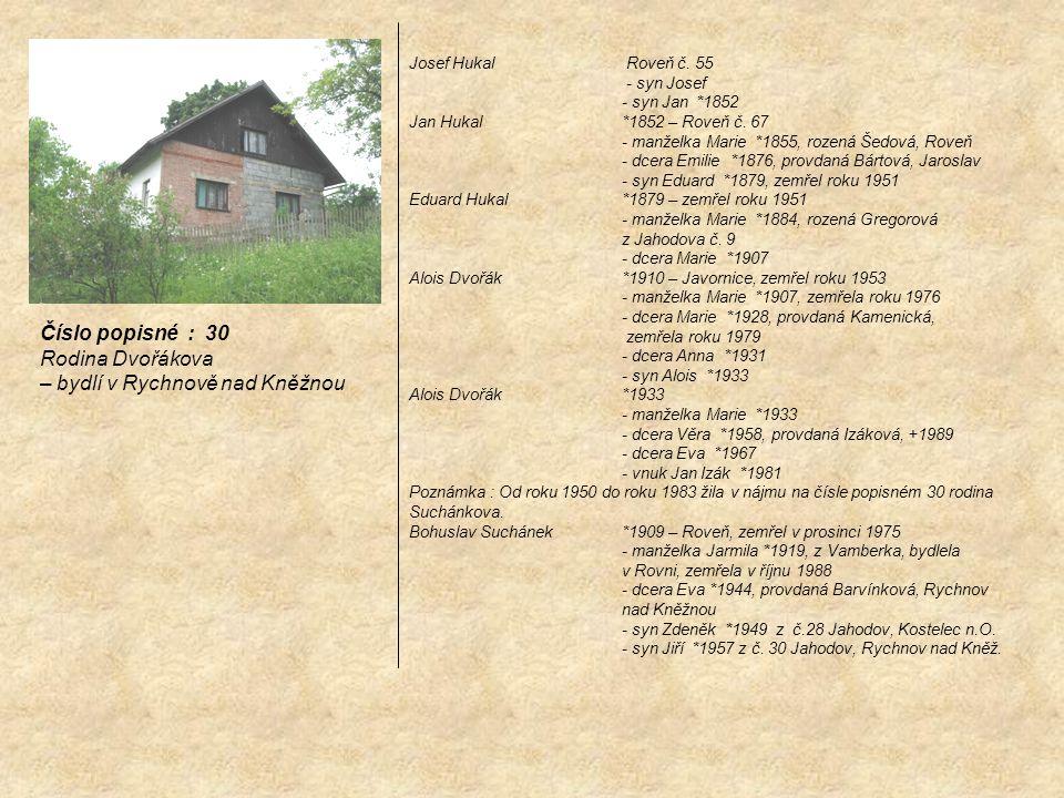 Josef Hukal Roveň č. 55 - syn Josef - syn Jan *1852 Jan Hukal *1852 – Roveň č. 67 - manželka Marie *1855, rozená Šedová, Roveň - dcera Emilie *1876, p
