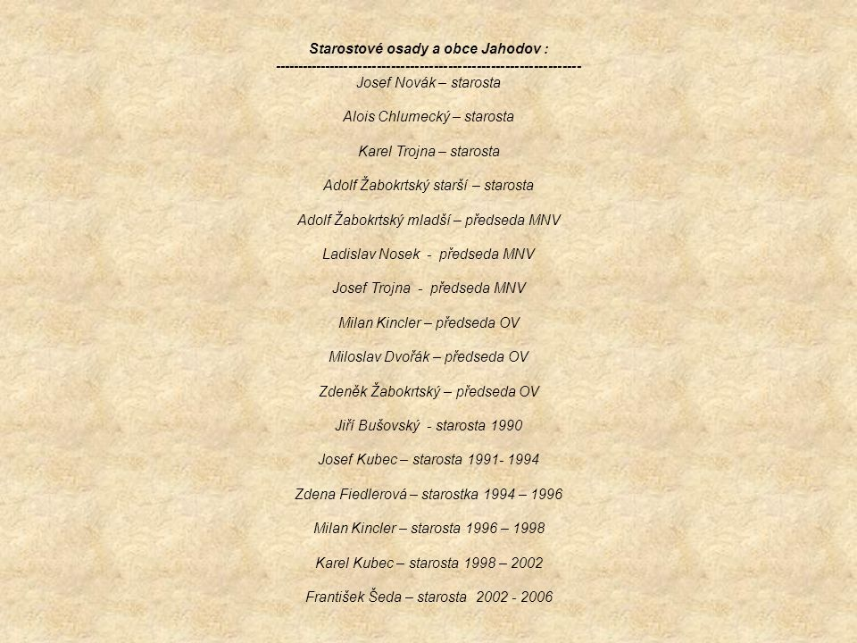 Starostové osady a obce Jahodov : ----------------------------------------------------------------- Josef Novák – starosta Alois Chlumecký – starosta