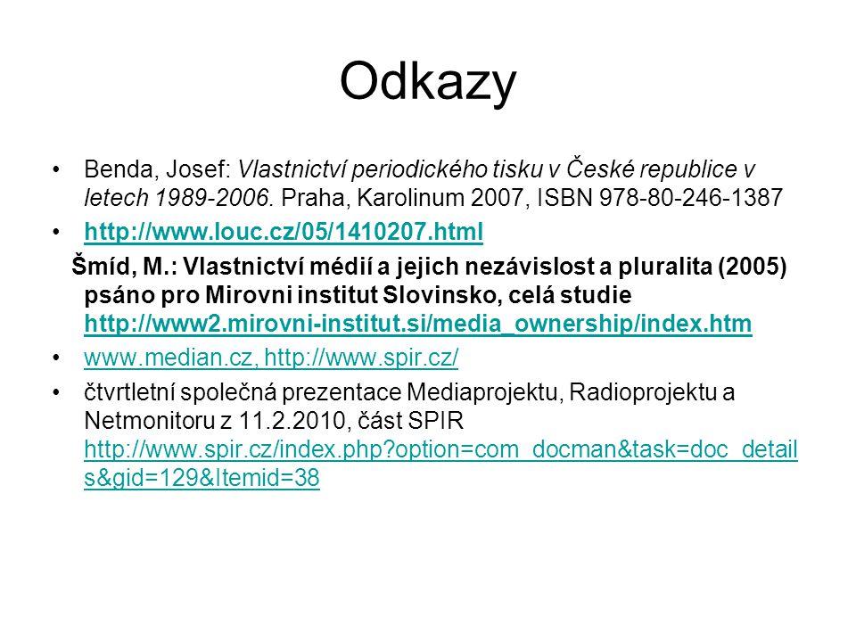 Odkazy Benda, Josef: Vlastnictví periodického tisku v České republice v letech 1989-2006.
