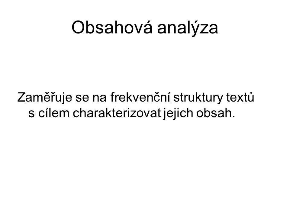 Obsahová analýza Zaměřuje se na frekvenční struktury textů s cílem charakterizovat jejich obsah.