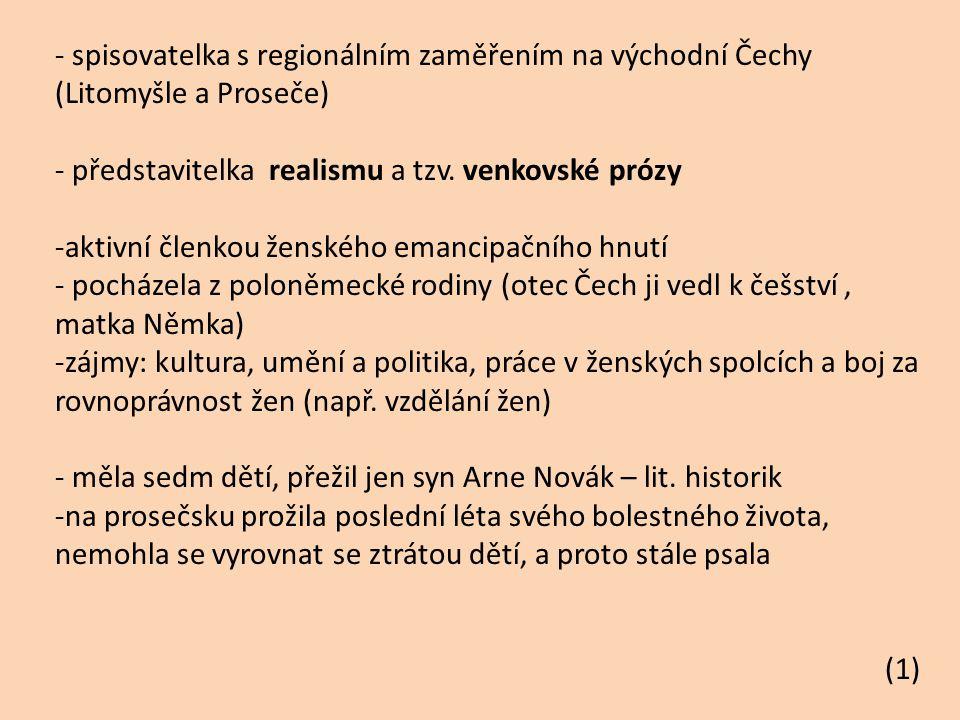 Charakteristika tvorby: -vzorem jí byla Karolina Světlá -hrdinové - ušlechtilí, bojují za společný pokrok společnosti jako celku - v centru zájmu jsou chudí lidé -prostředí děl: východní Čechy Romány: Jan Jílek (1904) – hlavním hrdinou je zde český evangelík, který je donucen kvůli náboženské nesvobodě opustit vlast Jiří Šmatlán (1906) – životopis člověka, který se od náboženství dostává k myšlenkám socialismu Děti čistého živého (1909) – otázky náboženských skupin, obracejících se k mysticismu Drašar (1914) – román napsaný podle skutečné osoby, popisuje psychologické problémy kněze na vesnici (1)