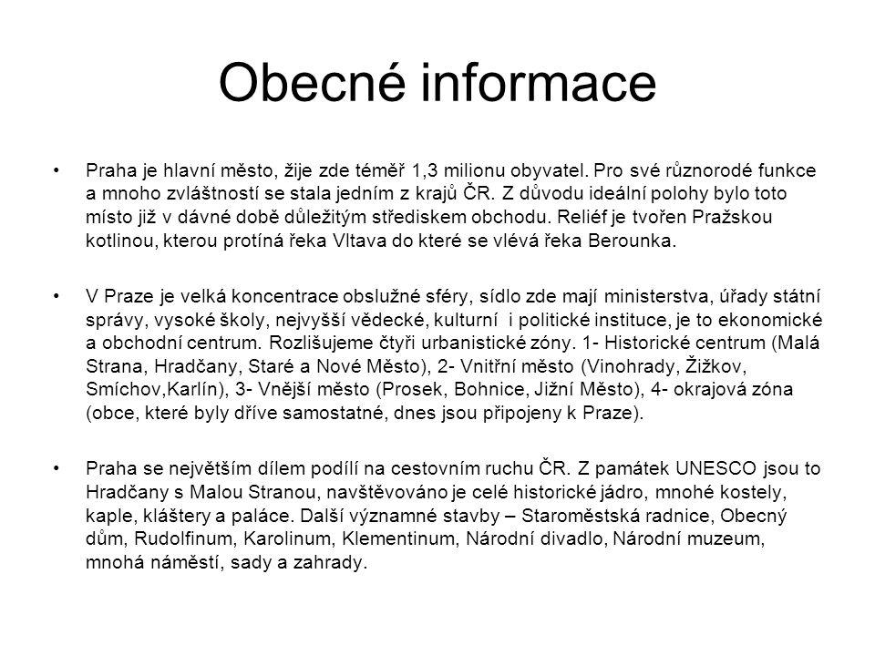 Obecné informace Praha je hlavní město, žije zde téměř 1,3 milionu obyvatel. Pro své různorodé funkce a mnoho zvláštností se stala jedním z krajů ČR.