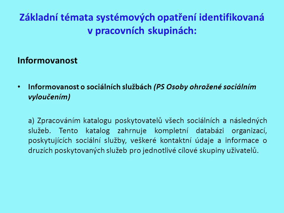 Základní témata systémových opatření identifikovaná v pracovních skupinách: Informovanost Informovanost o sociálních službách (PS Osoby ohrožené sociá