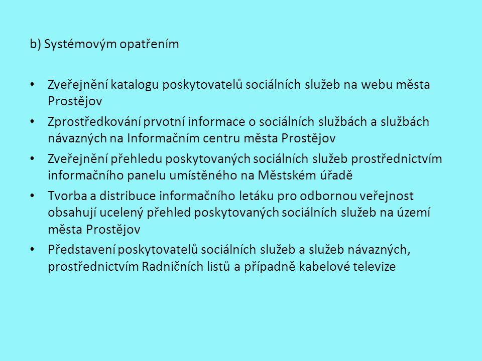 b) Systémovým opatřením Zveřejnění katalogu poskytovatelů sociálních služeb na webu města Prostějov Zprostředkování prvotní informace o sociálních slu