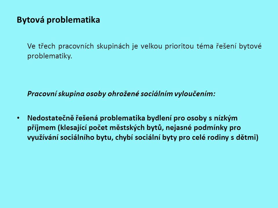 Bytová problematika Ve třech pracovních skupinách je velkou prioritou téma řešení bytové problematiky. Pracovní skupina osoby ohrožené sociálním vylou