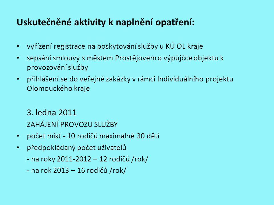 Uskutečněné aktivity k naplnění opatření: vyřízení registrace na poskytování služby u KÚ OL kraje sepsání smlouvy s městem Prostějovem o výpůjčce obje