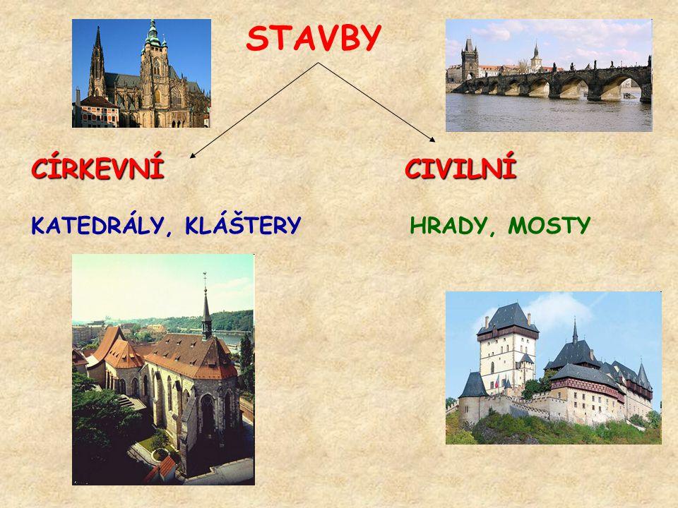 STAVBY CÍRKEVNÍ CIVILNÍ KATEDRÁLY, KLÁŠTERY HRADY, MOSTY