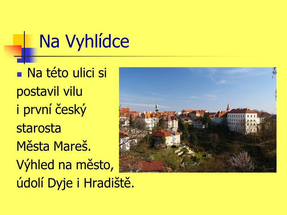 Na Vyhlídce Na této ulici si postavil vilu i první český starosta Města Mareš.