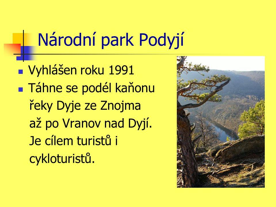 Národní park Podyjí Vyhlášen roku 1991 Táhne se podél kaňonu řeky Dyje ze Znojma až po Vranov nad Dyjí.