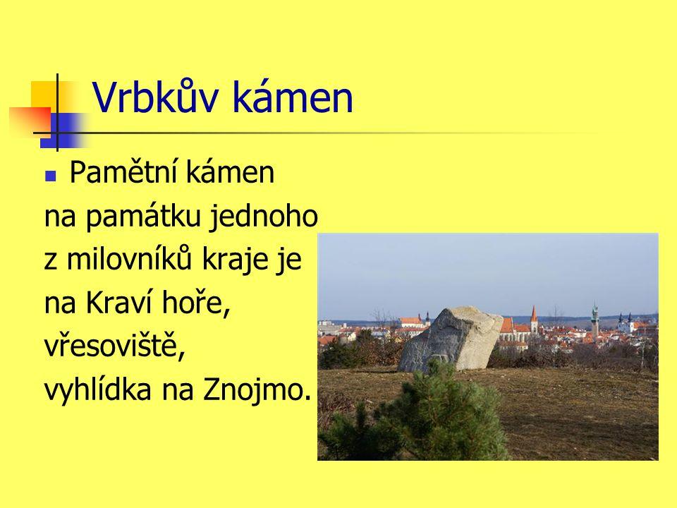Vrbkův kámen Pamětní kámen na památku jednoho z milovníků kraje je na Kraví hoře, vřesoviště, vyhlídka na Znojmo.