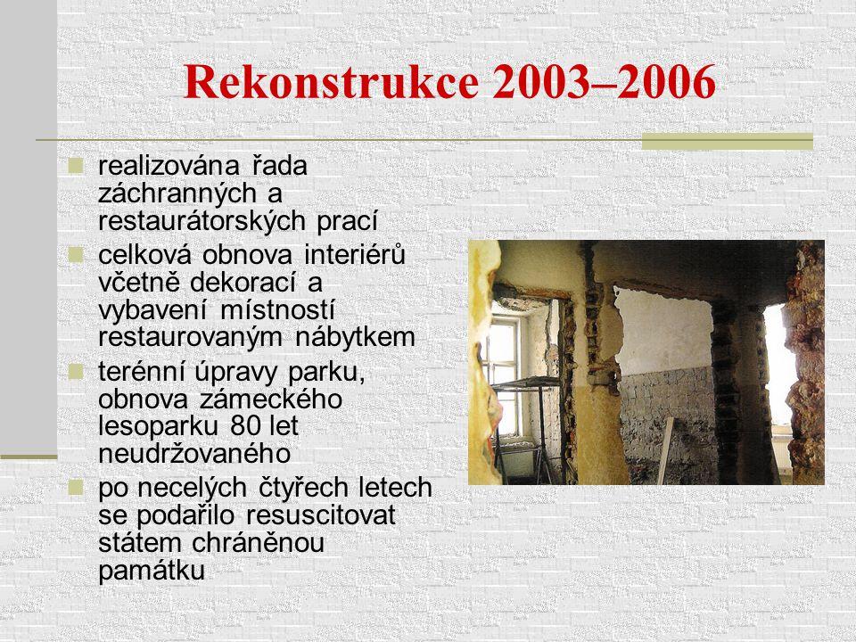 Rekonstrukce 2003–2006 realizována řada záchranných a restaurátorských prací celková obnova interiérů včetně dekorací a vybavení místností restaurovan