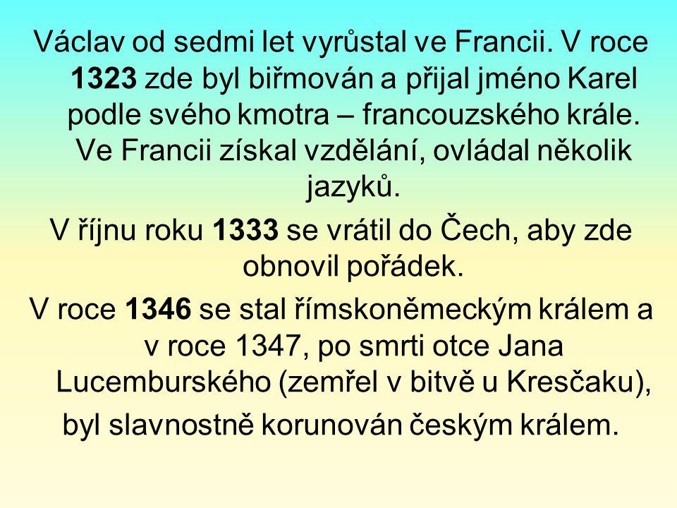 Václav od sedmi let vyrůstal ve Francii. V roce 1323 zde byl biřmován a přijal jméno Karel podle svého kmotra – francouzského krále. Ve Francii získal