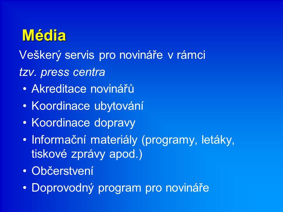 Média Veškerý servis pro novináře v rámci tzv. press centra Akreditace novinářů Koordinace ubytování Koordinace dopravy Informační materiály (programy