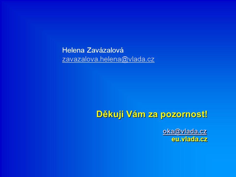 Děkuji Vám za pozornost! oka@vlada.cz eu.vlada.cz oka@vlada.cz Helena Zavázalová zavazalova.helena@vlada.cz