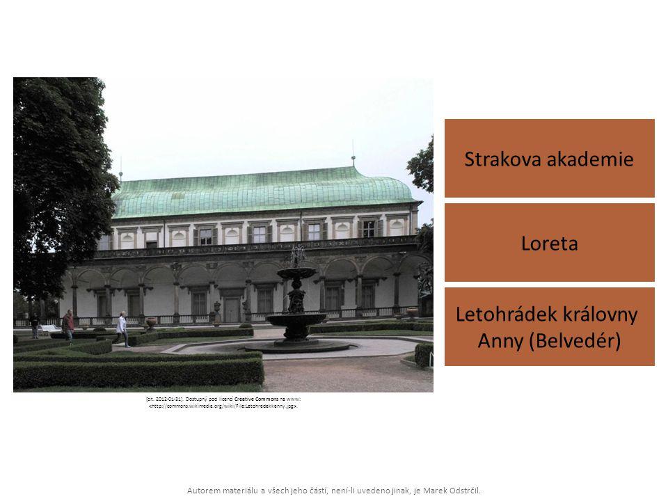 Autorem materiálu a všech jeho částí, není-li uvedeno jinak, je Marek Odstrčil. Strakova akademie Letohrádek královny Anny (Belvedér) Loreta [cit. 201