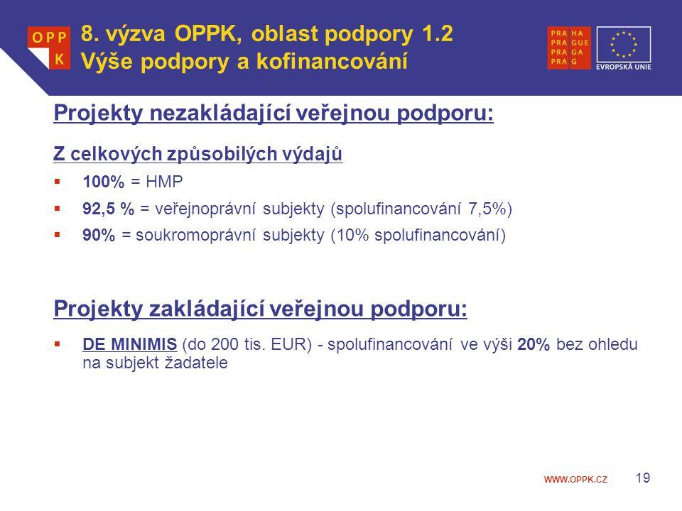 WWW.OPPK.CZ 19 Projekty nezakládající veřejnou podporu: Z celkových způsobilých výdajů  100% = HMP  92,5 % = veřejnoprávní subjekty (spolufinancování 7,5%)  90% = soukromoprávní subjekty (10% spolufinancování) Projekty zakládající veřejnou podporu:  DE MINIMIS (do 200 tis.