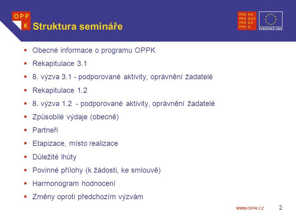 WWW.OPPK.CZ 2 Struktura semináře  Obecné informace o programu OPPK  Rekapitulace 3.1  8.