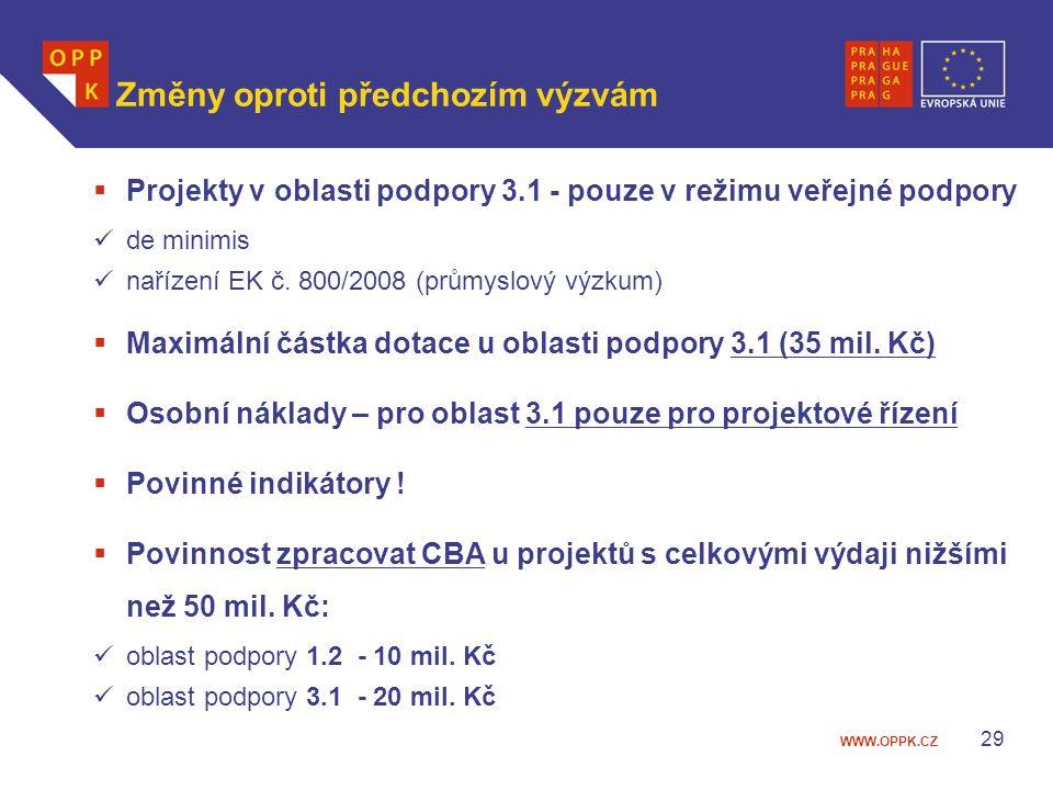 WWW.OPPK.CZ 29 Změny oproti předchozím výzvám  Projekty v oblasti podpory 3.1 - pouze v režimu veřejné podpory de minimis nařízení EK č.