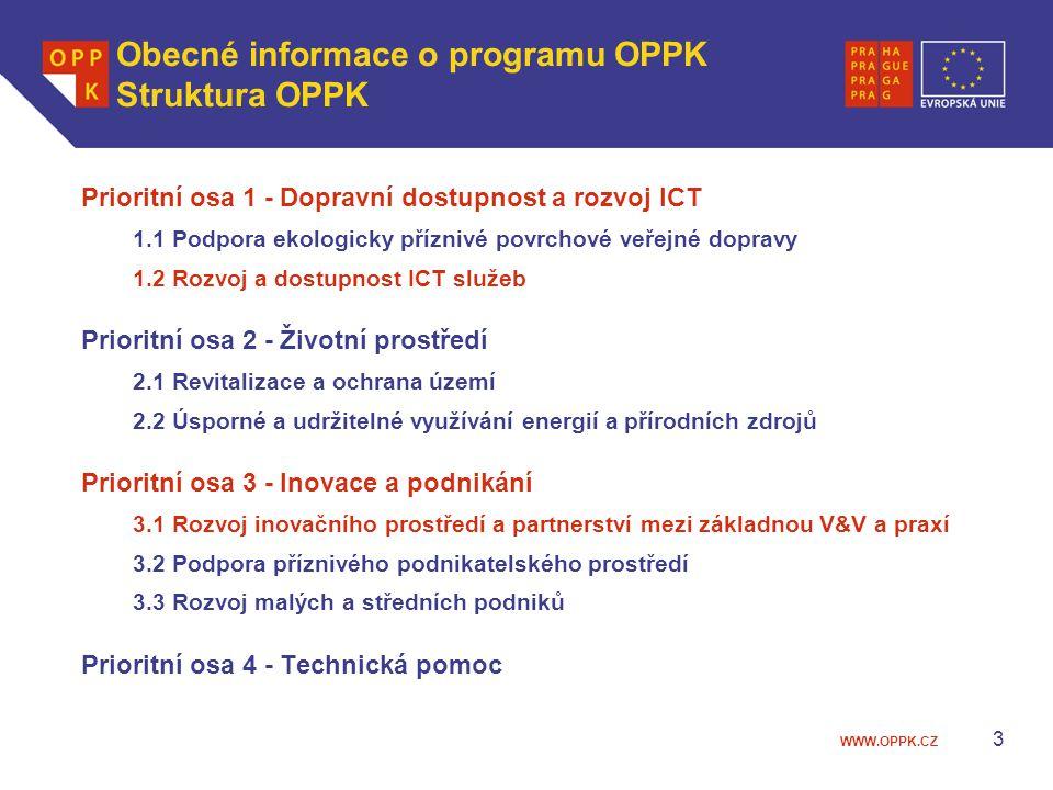 WWW.OPPK.CZ 3 Obecné informace o programu OPPK Struktura OPPK Prioritní osa 1 - Dopravní dostupnost a rozvoj ICT 1.1 Podpora ekologicky příznivé povrchové veřejné dopravy 1.2 Rozvoj a dostupnost ICT služeb Prioritní osa 2 - Životní prostředí 2.1 Revitalizace a ochrana území 2.2 Úsporné a udržitelné využívání energií a přírodních zdrojů Prioritní osa 3 - Inovace a podnikání 3.1 Rozvoj inovačního prostředí a partnerství mezi základnou V&V a praxí 3.2 Podpora příznivého podnikatelského prostředí 3.3 Rozvoj malých a středních podniků Prioritní osa 4 - Technická pomoc