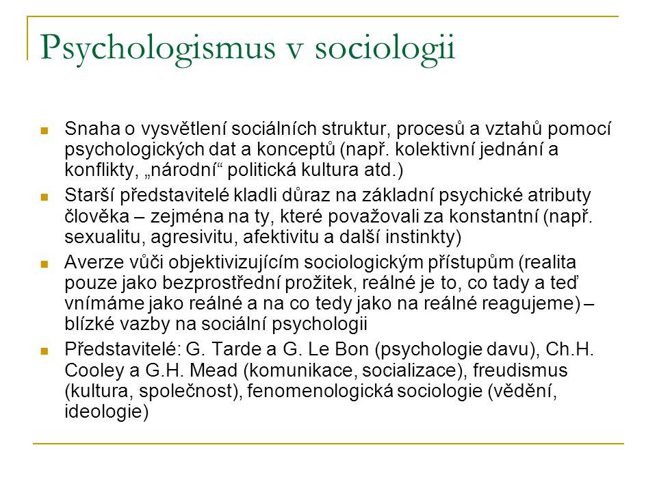 Psychologismus v sociologii Snaha o vysvětlení sociálních struktur, procesů a vztahů pomocí psychologických dat a konceptů (např.