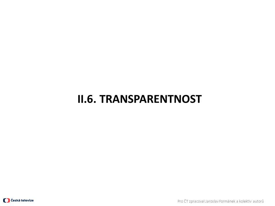 II.6. TRANSPARENTNOST Pro ČT zpracoval Jaroslav Formánek a kolektiv autorů