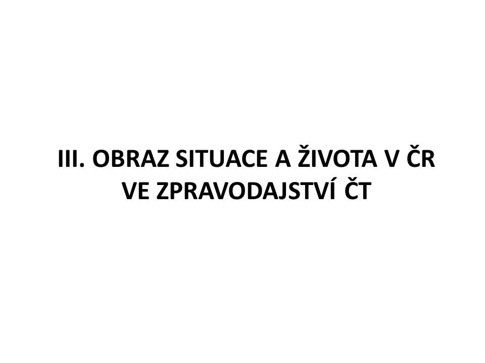 III. OBRAZ SITUACE A ŽIVOTA V ČR VE ZPRAVODAJSTVÍ ČT