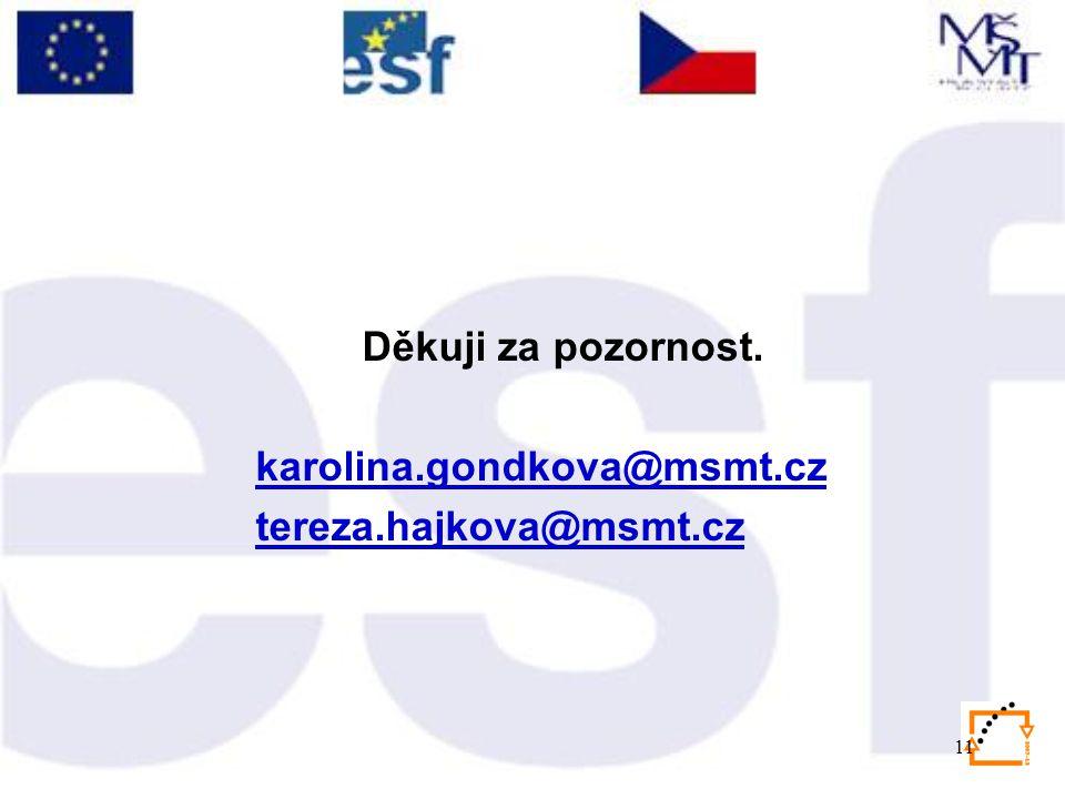 11 Děkuji za pozornost. karolina.gondkova@msmt.cz tereza.hajkova@msmt.cz
