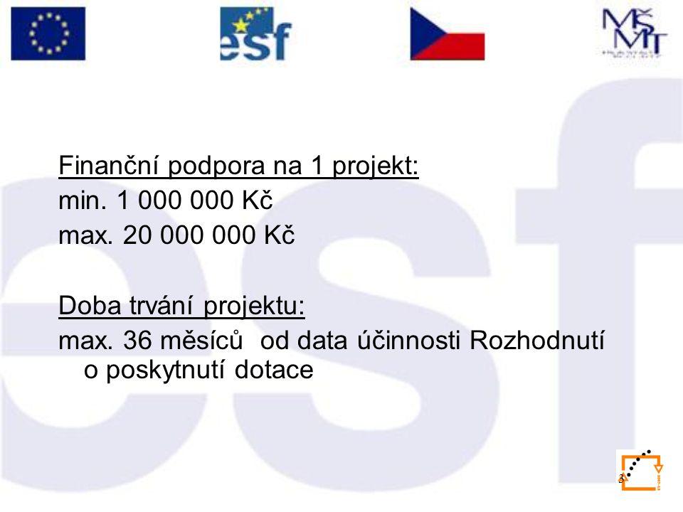 3 Finanční podpora na 1 projekt: min. 1 000 000 Kč max. 20 000 000 Kč Doba trvání projektu: max. 36 měsíců od data účinnosti Rozhodnutí o poskytnutí d